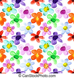 Multicoloured seamless floral pattern - Watercolor flowers -...
