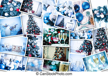 Christmas collage with photos of spruce, champagne and...