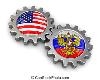 USA and Russian flags on a gears