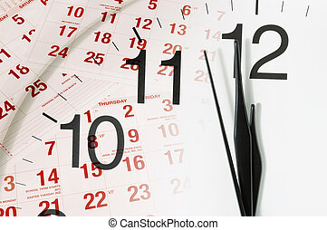 Calendar and Clock Face - Composite of Calendar and Clock...