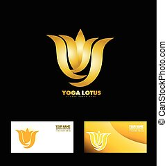 Gold yoga lotus flower - Vector company logo icon element...