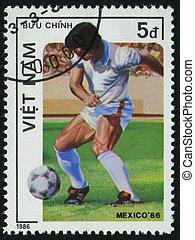 postmark - VIET NAM - CIRCA 1986: 1986 World Cup Soccer...