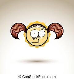 Vector hand drawn girl with fashionable hairdo Facial...