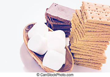 Smores station with large white marshmallows at the party