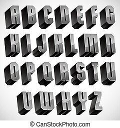 3d font, geometric dimensional letters set. - 3d font,...