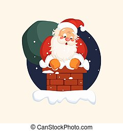 Santa Claus in Chimney on Christmas Eve. Vector Illustration