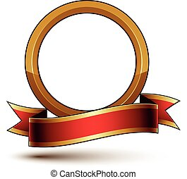 Design vector golden ring template with red curvy ribbon, 3d...