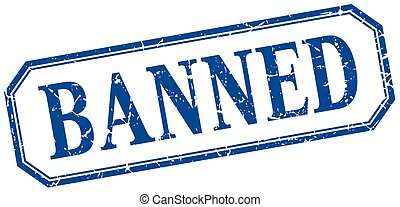 banned square blue grunge vintage isolated label