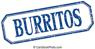 burritos square blue grunge vintage isolated label