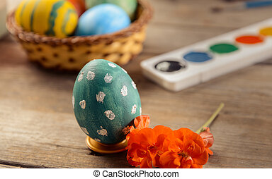 Preparation for Easter Day - Easter colored eggs and paints...