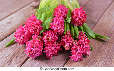 Hyacinths - Flowers red hyacinths on a wooden table