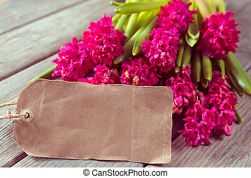 Flowers hyacinths - Red flowers hyacinths and a blank card...
