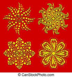 Rosette ornament. - Set of Rosette ornament. Isolated on...