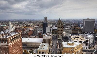 Timelapse aerial of Buffalo - Timelapse aerial view of the...