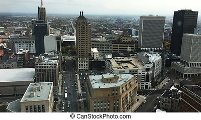 Slow motion aerial view of Buffalo - A Slow motion aerial...
