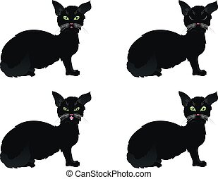 Black Cat with Green Eyes - Cute cartoon black cat with...