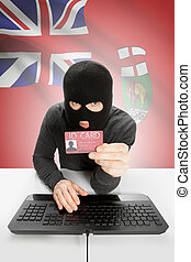 Hacker with Canadian province flag on background holding ID...