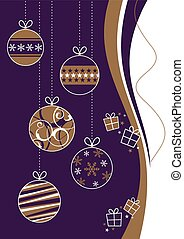 Purple and Gold Christmas Baubles