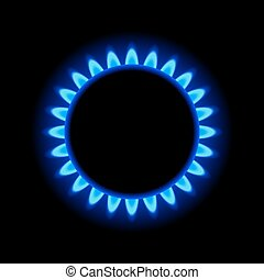 Burner Gas Ring with Blue Flame on Dark Background Vector...