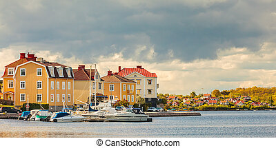 Ancient houses with boats in Karlskrona, Sweden - Panoramic...