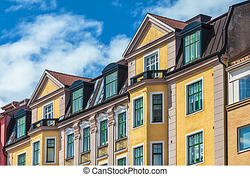Row of Swedish colorful apartment buildings in Karlskrona -...