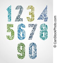 Pattern choppy colorful decorative numbers.