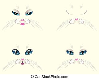 White Cat Face with Blue Eyes