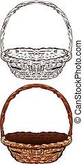 Wicker Basket - Illustration of brown wicker basket on white...