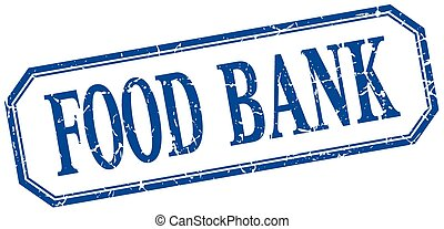 food bank square blue grunge vintage isolated label