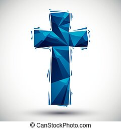 Blue cross geometric icon made in 3d modern style, best for...