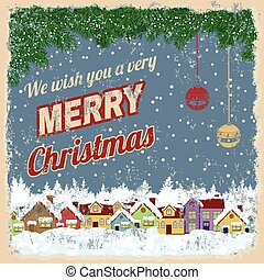 Merry Christmas retro poster - Merry Christmas poster with...