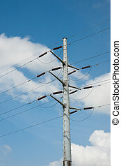 Power lines - Electricity pylon and power lines against blue...