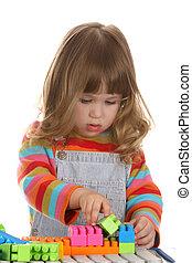 menina, tocando, coloridos, predios, brinquedo, blocos