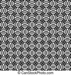 Repeating black white curved grid pattern