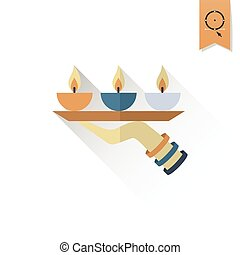 Diwali. Indian Festival Icon. Simple and Minimalistic Style....