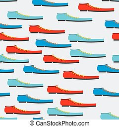 Trendy colorful shoes seamless pattern. Background of boot....