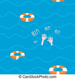"Man drowns  seamless pattern. Lifebuoy on waves of sea. Texture of sinking man raised his hands and screams-""Help"". Hands protrude from water."