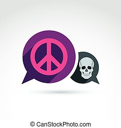 Peace against war icon with death skull, vector conceptual...