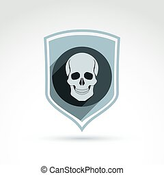 Vector illustration of a human skull in a shield. Dead head...