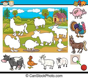 educational task for preschoolers - Cartoon Illustration of...