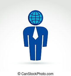 White collar office worker man icon with earth globe symbol,...