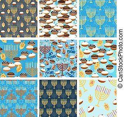 Hanukkah seamless pattern set - Seamless patterns collection...