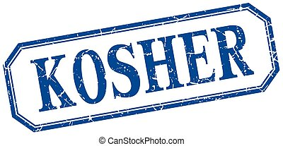 kosher square blue grunge vintage isolated label