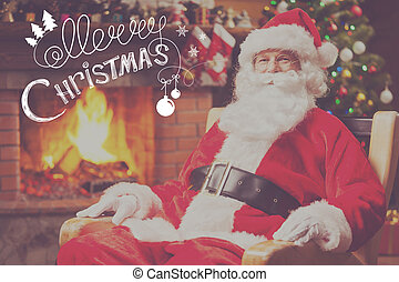 Merry Christmas Traditional Santa Claus sitting at his chair...