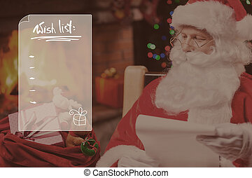 Wish list Traditional Santa Claus looking at his sack with...