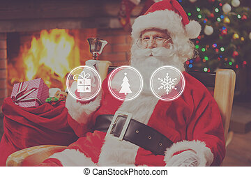Merry Christmas and Happy New Year Cheerful Santa Claus...