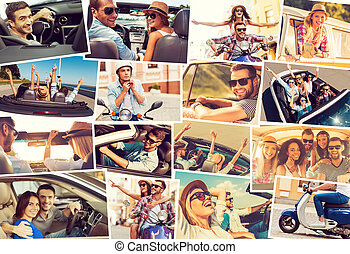 On the wheels Collage of diverse young people in the car or...