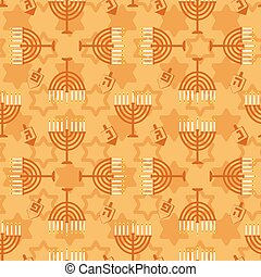 Hanukkah seamless pattern Background with Hanukkah candles...