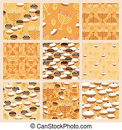 Hanukkah seamless pattern set - Seamless patterns collection...