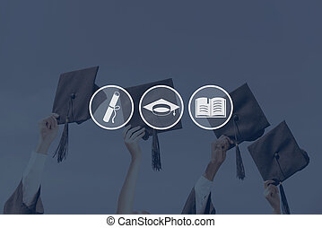 Graduation Close-up of four hands holding mortar boards...